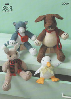 King Cole Dog, Cat, Rabbit and Duck Toy Pattern 3000