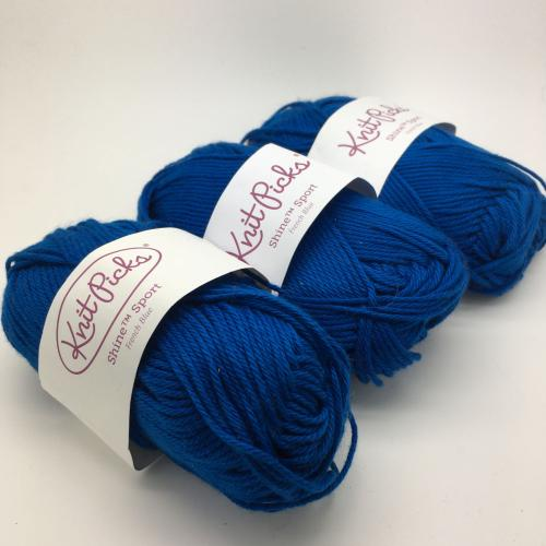 KnitPicks Shine Sport - French Blue Pack of 3